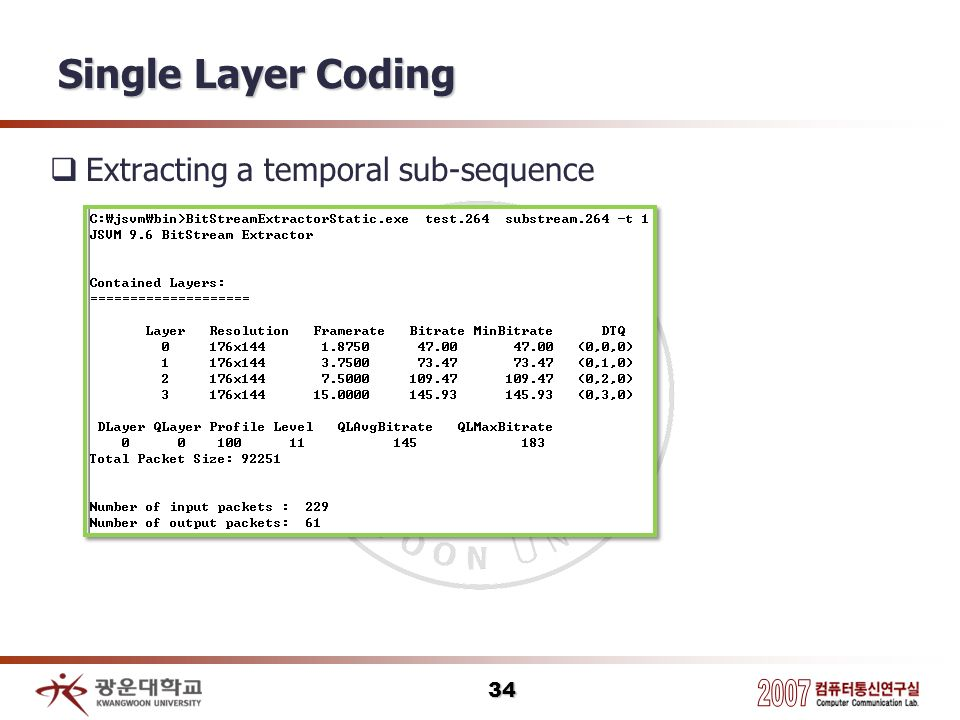 Single Layer Coding Extracting a temporal sub-sequence