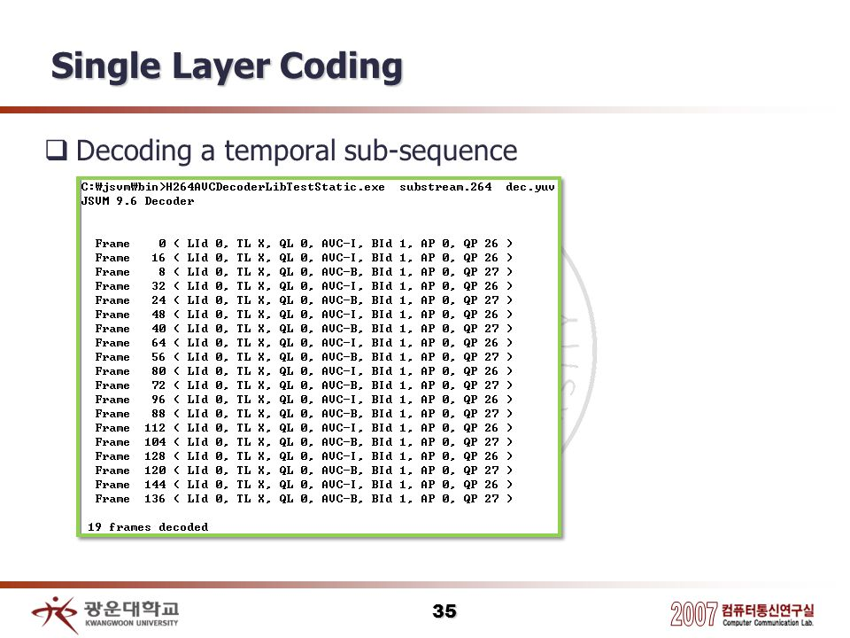 Single Layer Coding Decoding a temporal sub-sequence