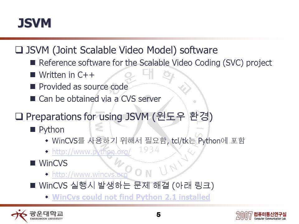 JSVM JSVM (Joint Scalable Video Model) software