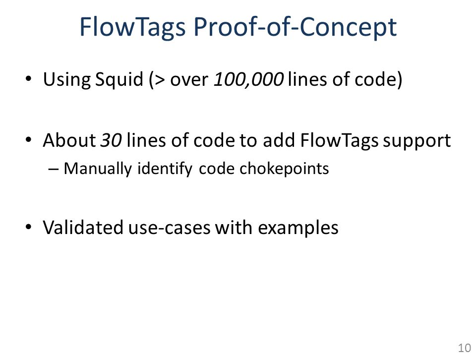 FlowTags Proof-of-Concept