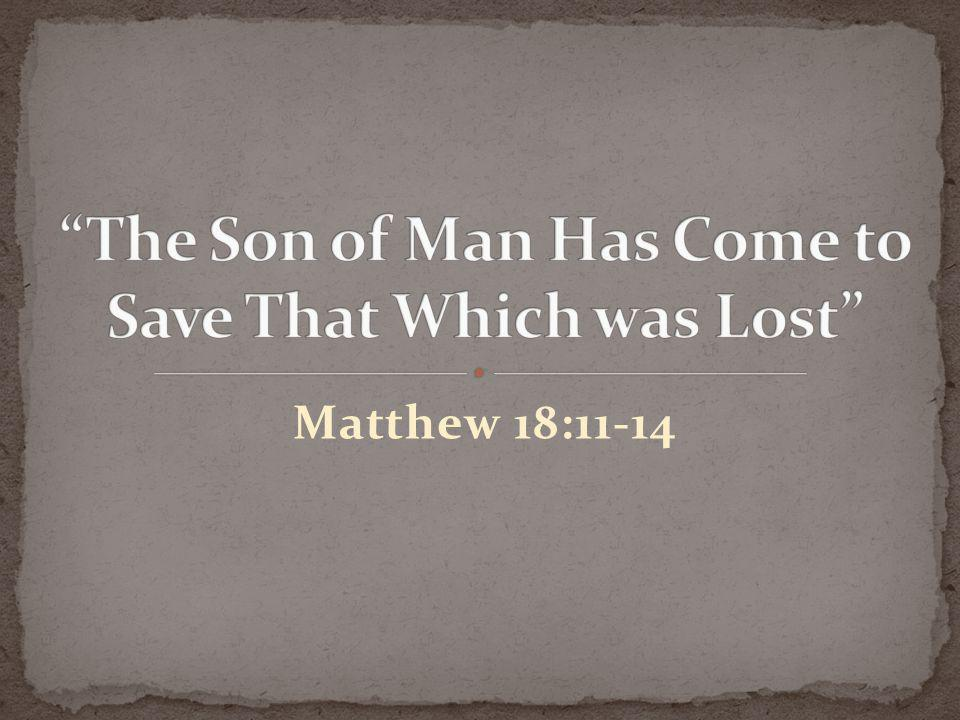 The Son of Man Has Come to Save That Which was Lost