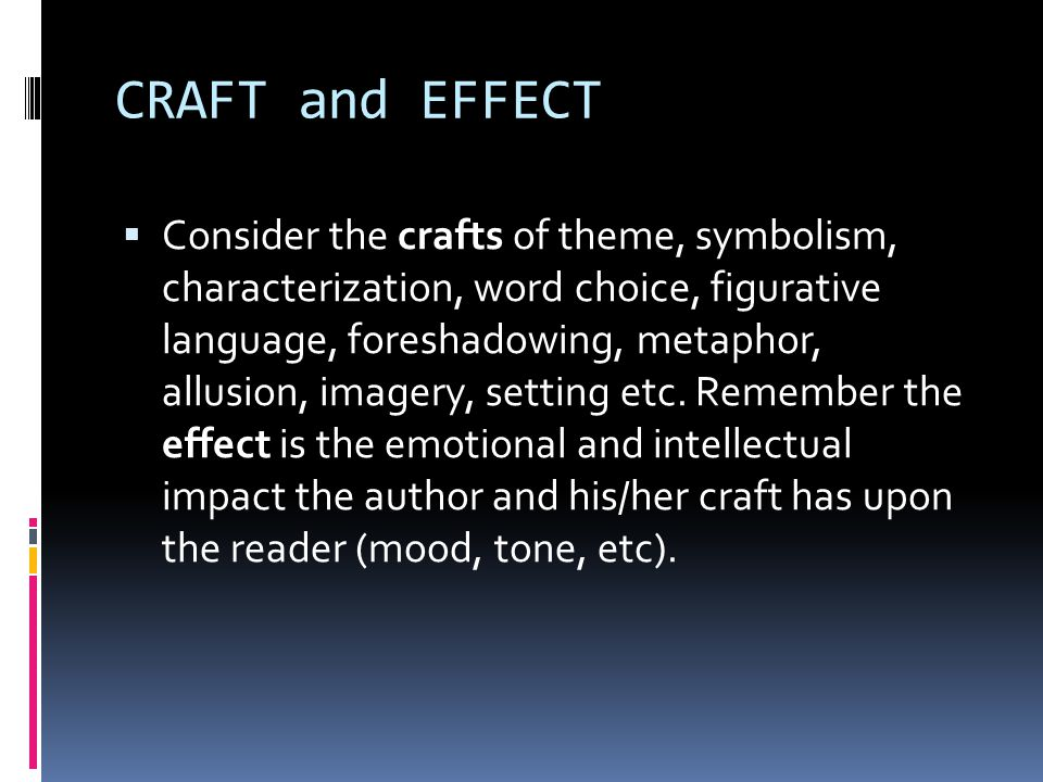 CRAFT and EFFECT