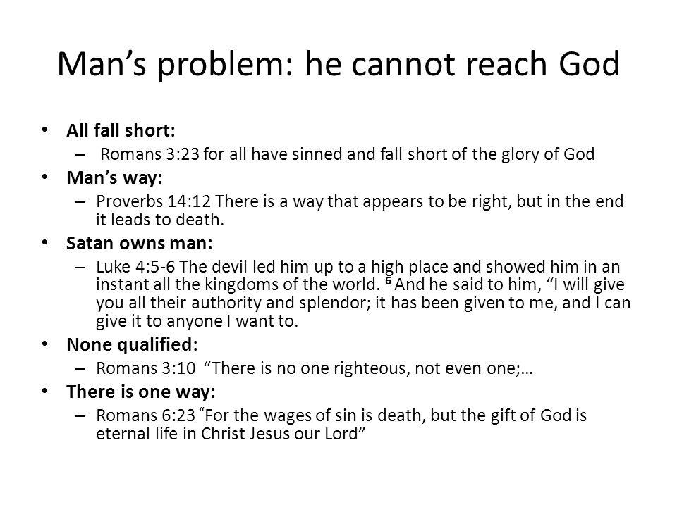 Man's problem: he cannot reach God