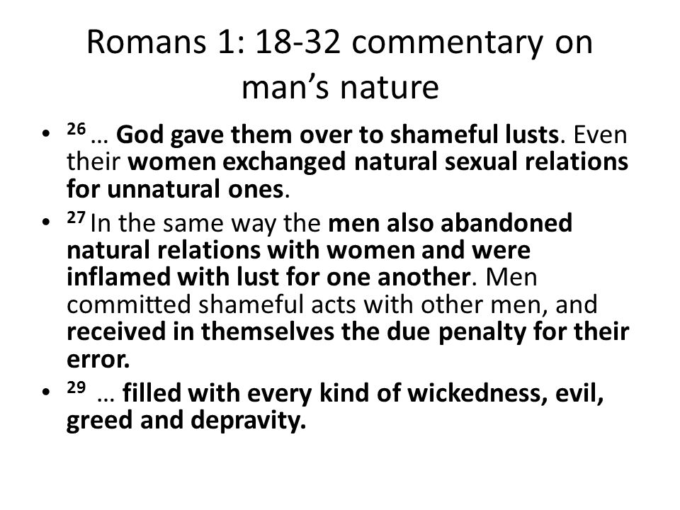Romans 1: 18-32 commentary on man's nature