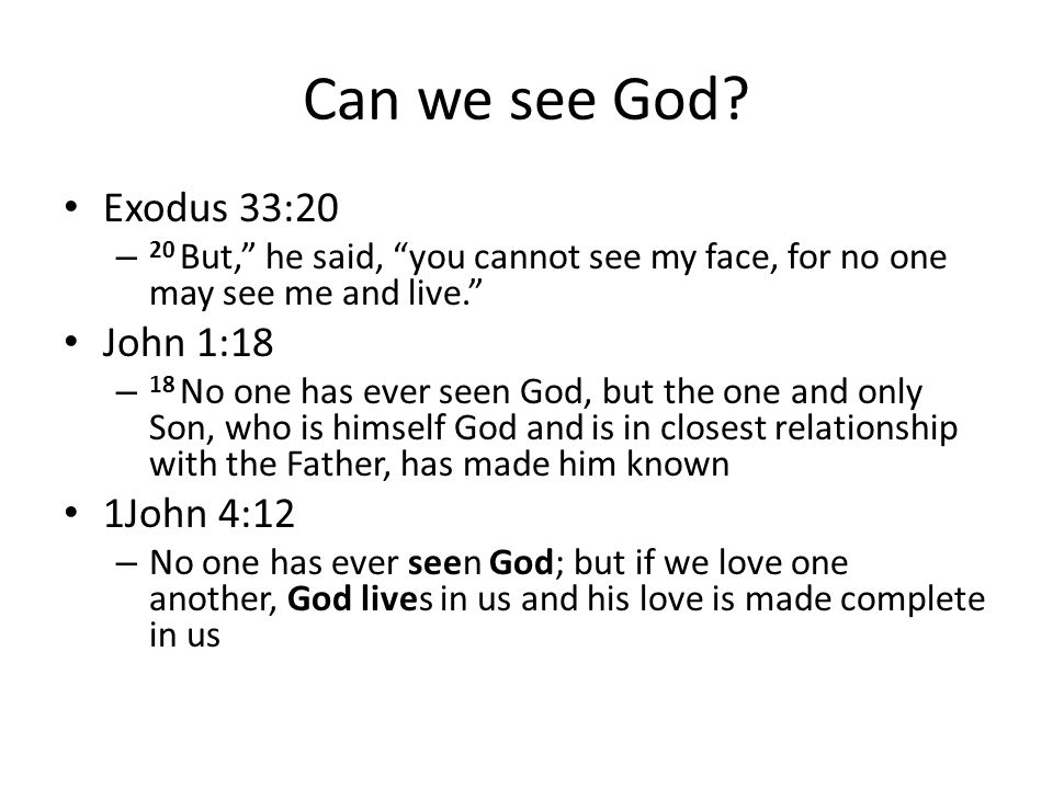 Can we see God Exodus 33:20 John 1:18 1John 4:12