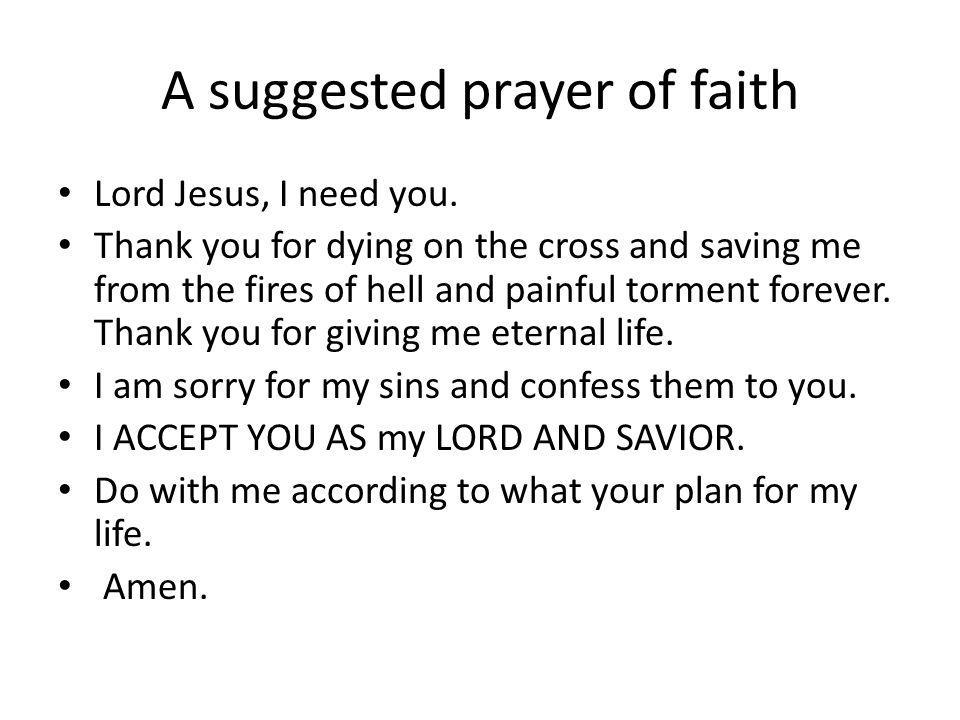 A suggested prayer of faith