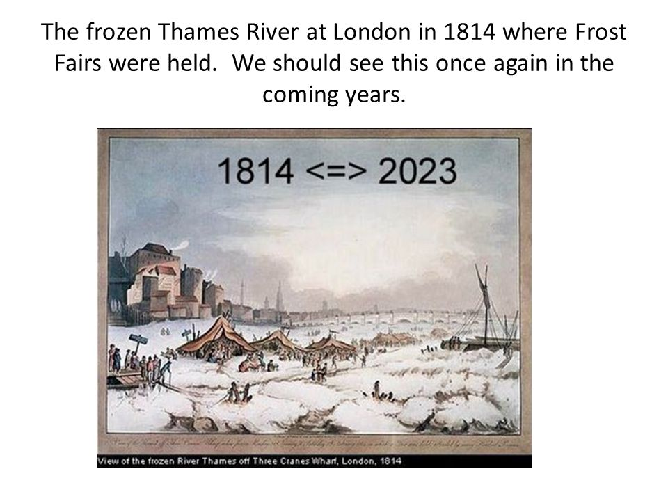 The frozen Thames River at London in 1814 where Frost Fairs were held