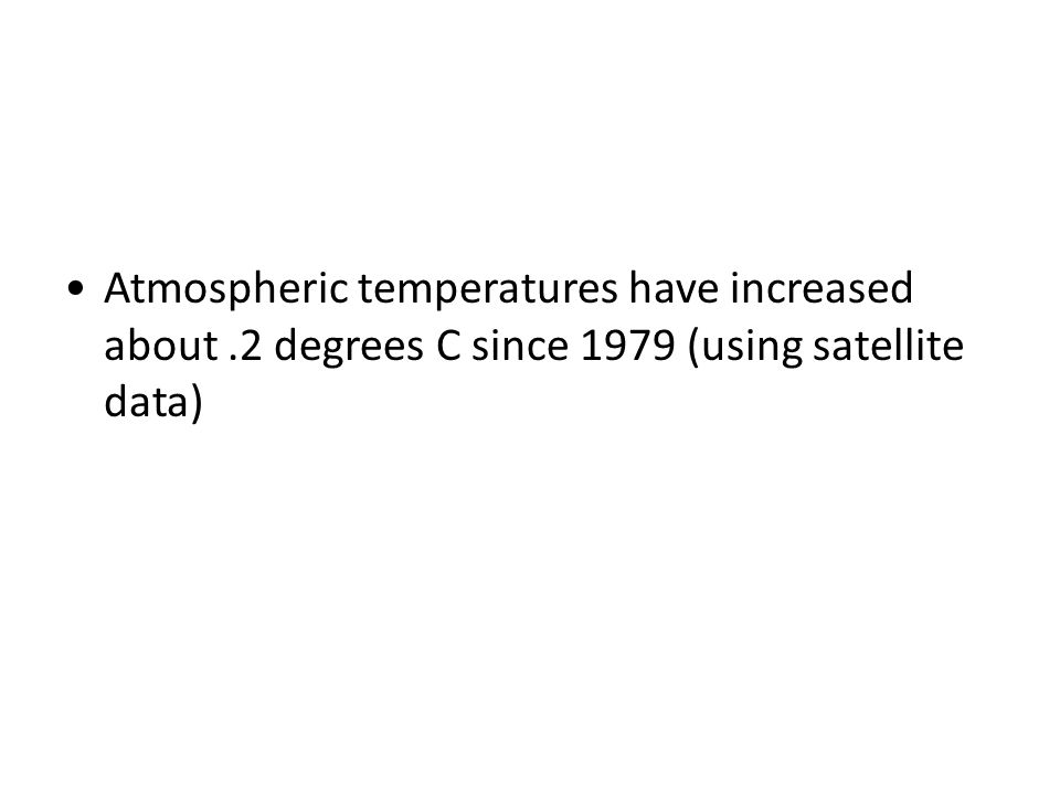 Atmospheric temperatures have increased about
