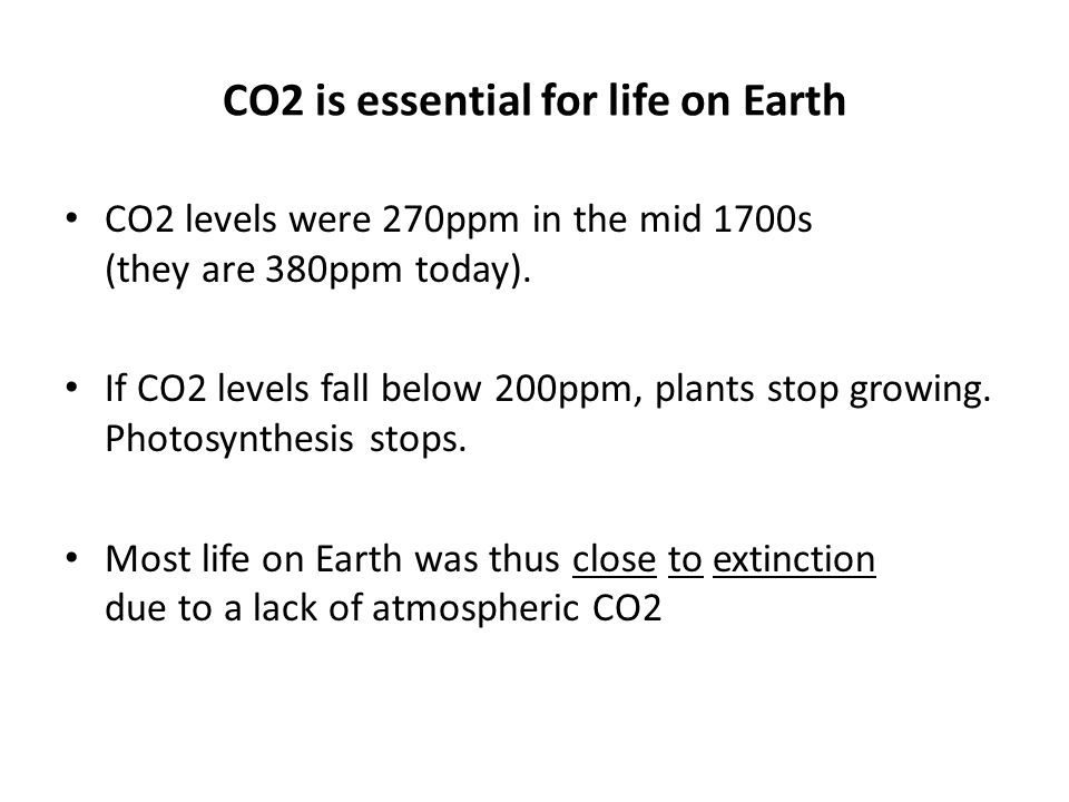 CO2 is essential for life on Earth