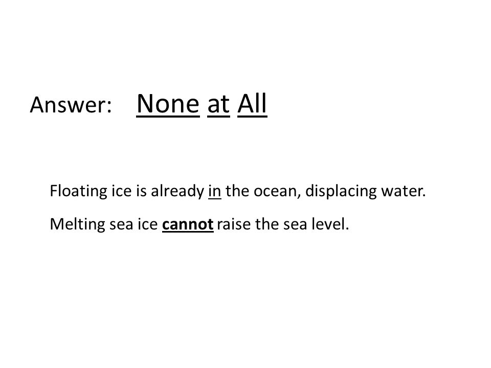 Answer: None at All Floating ice is already in the ocean, displacing water.