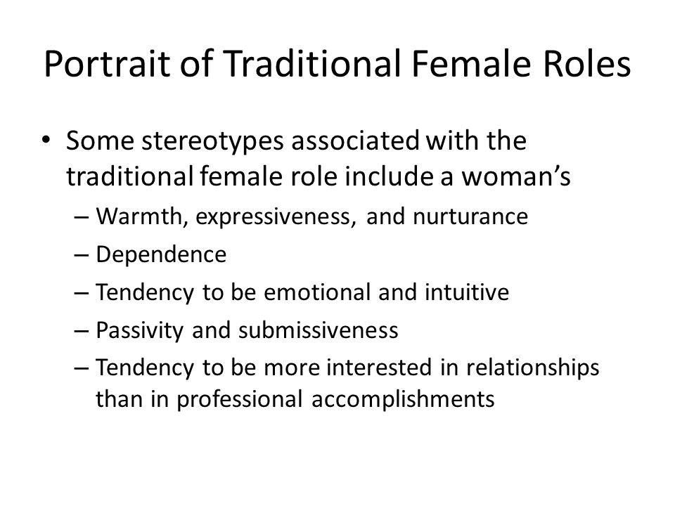 Portrait of Traditional Female Roles