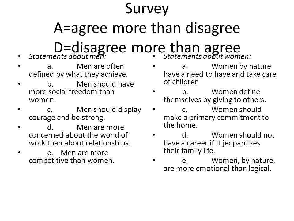 Survey A=agree more than disagree D=disagree more than agree