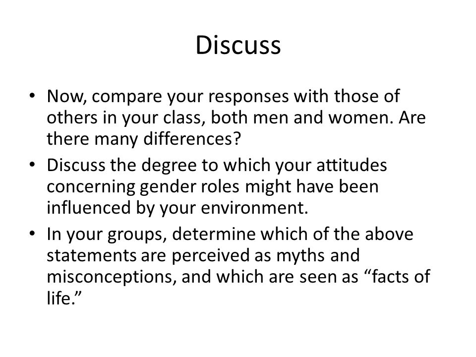 Discuss Now, compare your responses with those of others in your class, both men and women. Are there many differences
