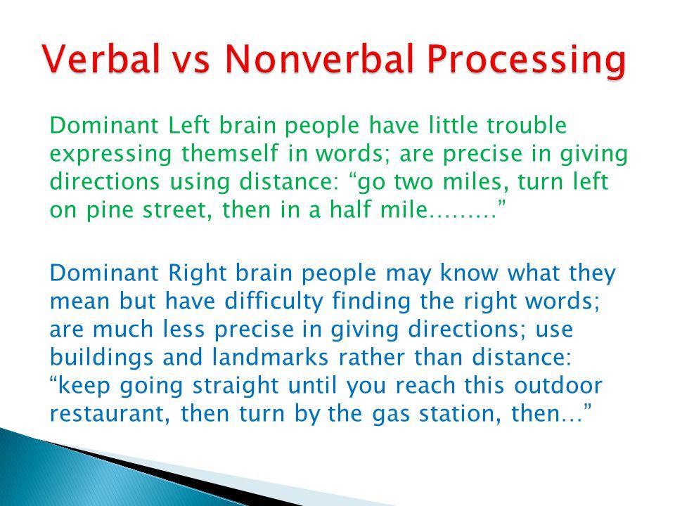 Verbal vs Nonverbal Processing