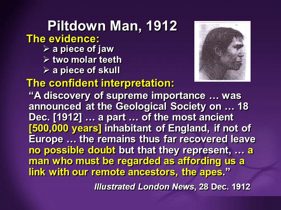 Purple blank Piltdown Man, 1912 The evidence: