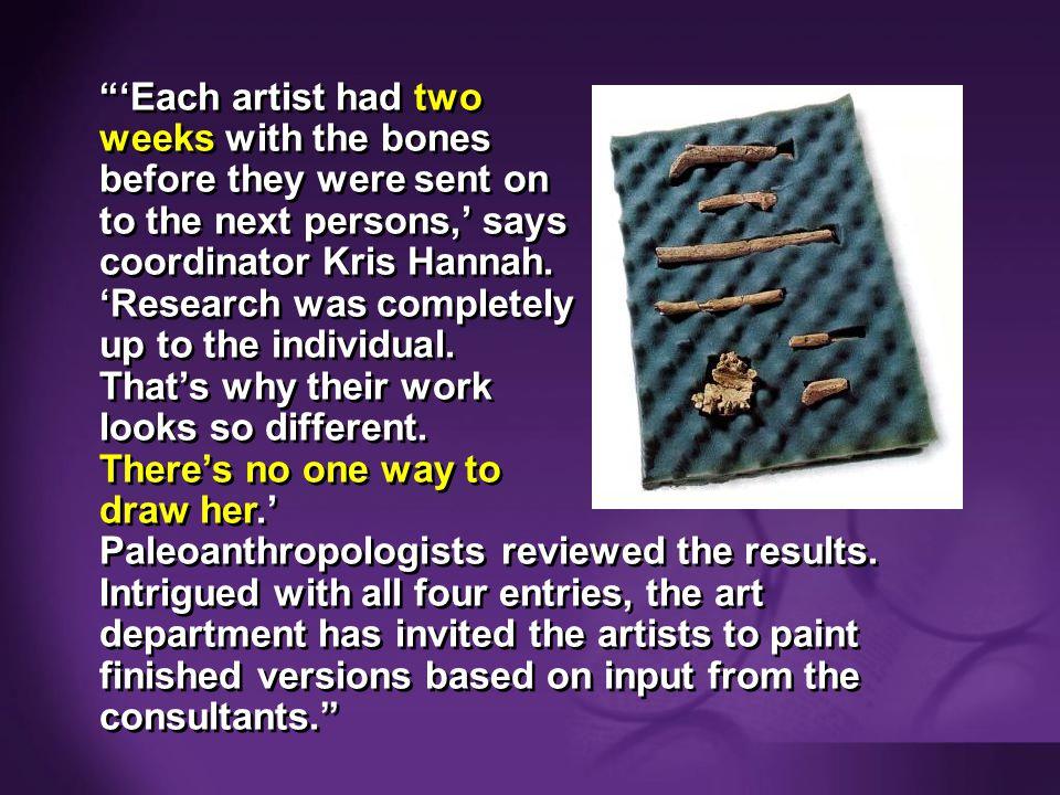 Purple blank 'Each artist had two weeks with the bones