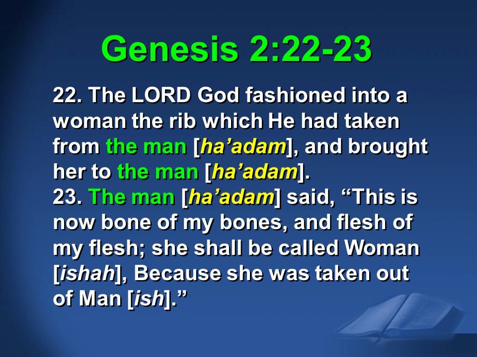 Gen. 2:22-23 NAS Genesis 2:22-23.
