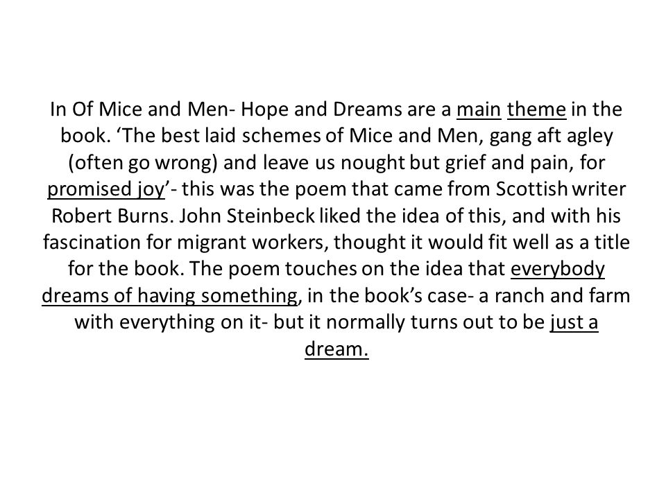 In Of Mice and Men- Hope and Dreams are a main theme in the book