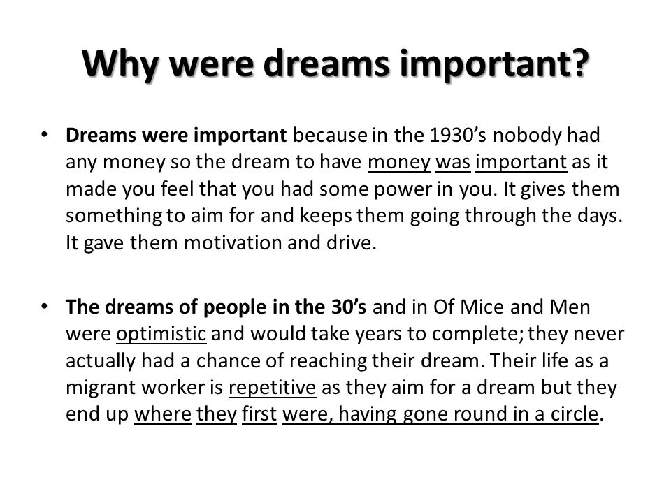 Why were dreams important
