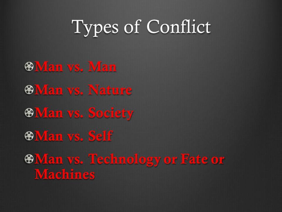 Types of Conflict Man vs. Man Man vs. Nature Man vs. Society