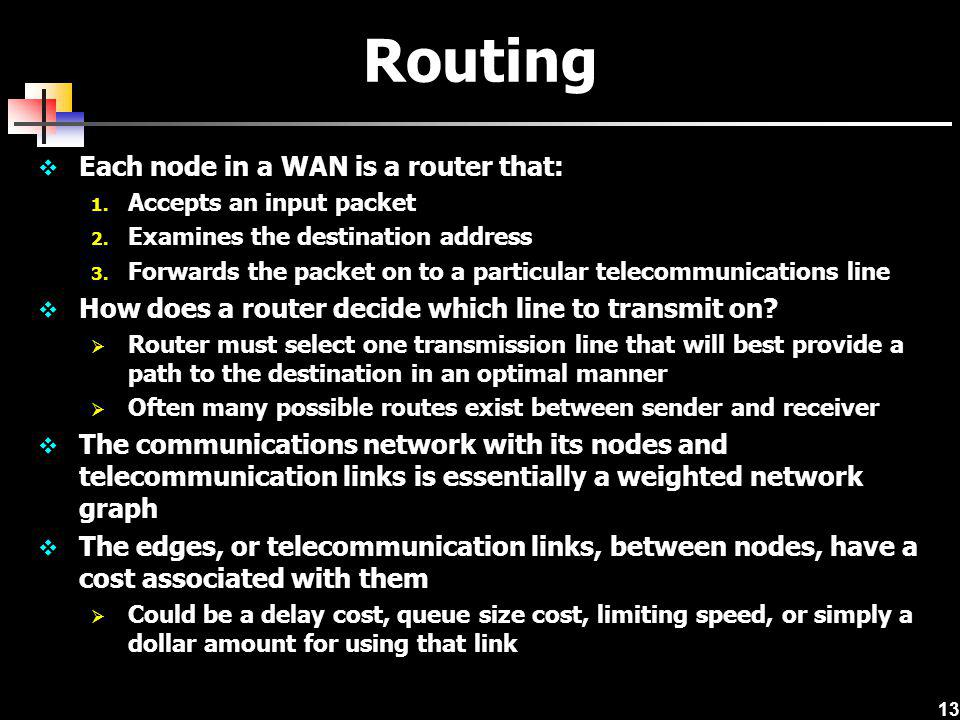 Routing Each node in a WAN is a router that: