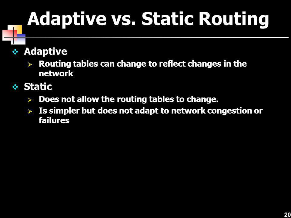 Adaptive vs. Static Routing