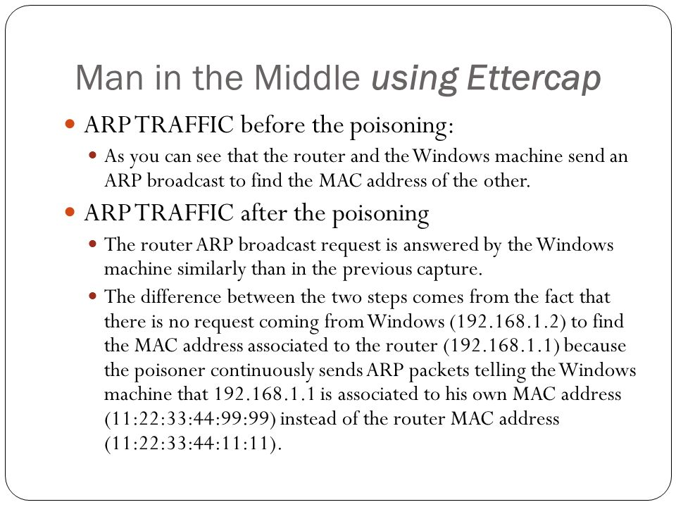 Man in the Middle using Ettercap