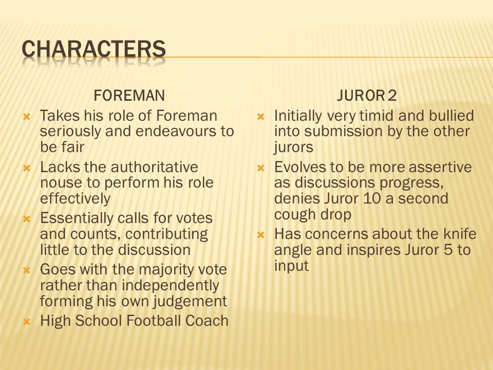 characters FOREMAN. Takes his role of Foreman seriously and endeavours to be fair. Lacks the authoritative nouse to perform his role effectively.