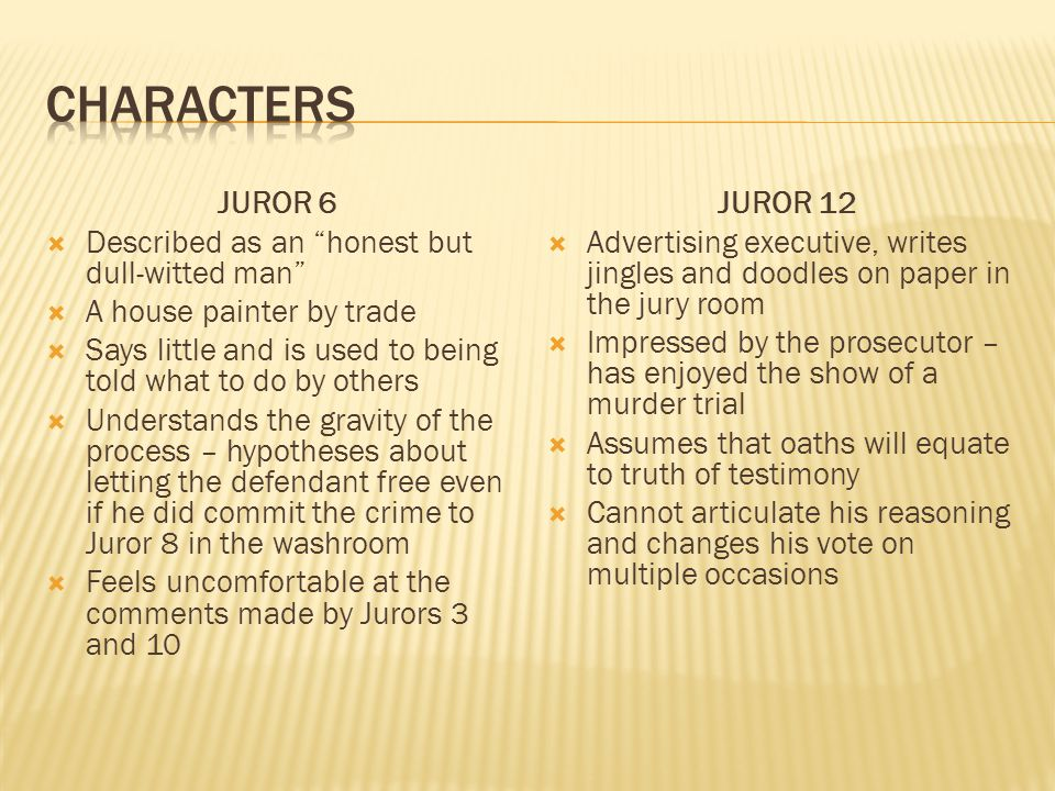 characters JUROR 6 Described as an honest but dull-witted man