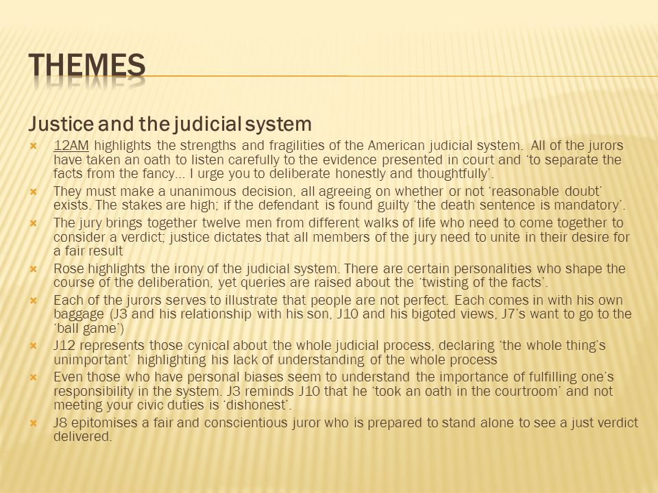 themes Justice and the judicial system