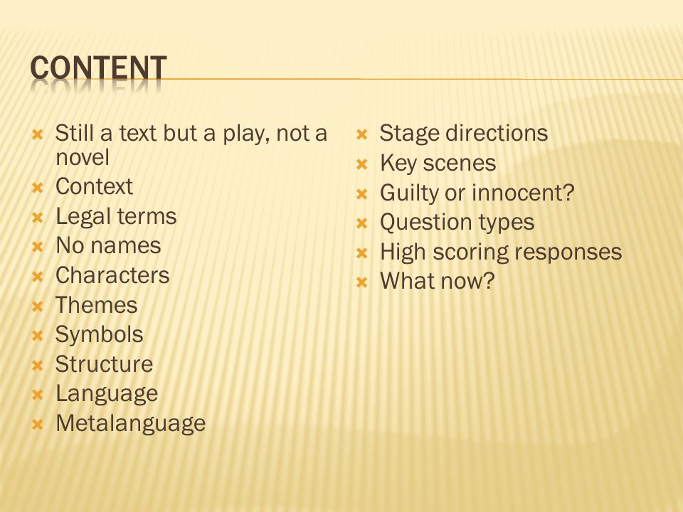 content Still a text but a play, not a novel Context Legal terms