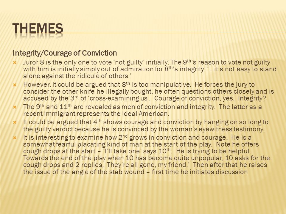 themes Integrity/Courage of Conviction