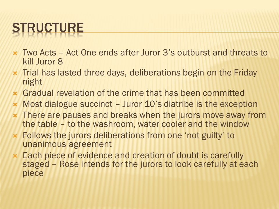 structure Two Acts – Act One ends after Juror 3's outburst and threats to kill Juror 8.