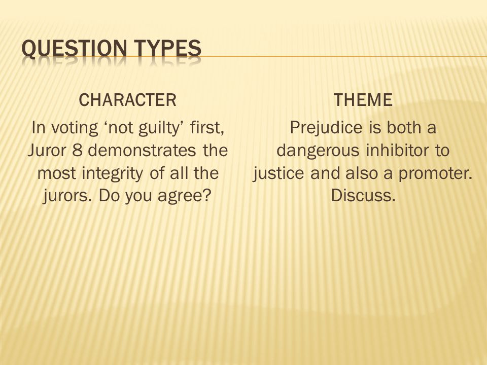 Question types CHARACTER In voting 'not guilty' first, Juror 8 demonstrates the most integrity of all the jurors. Do you agree