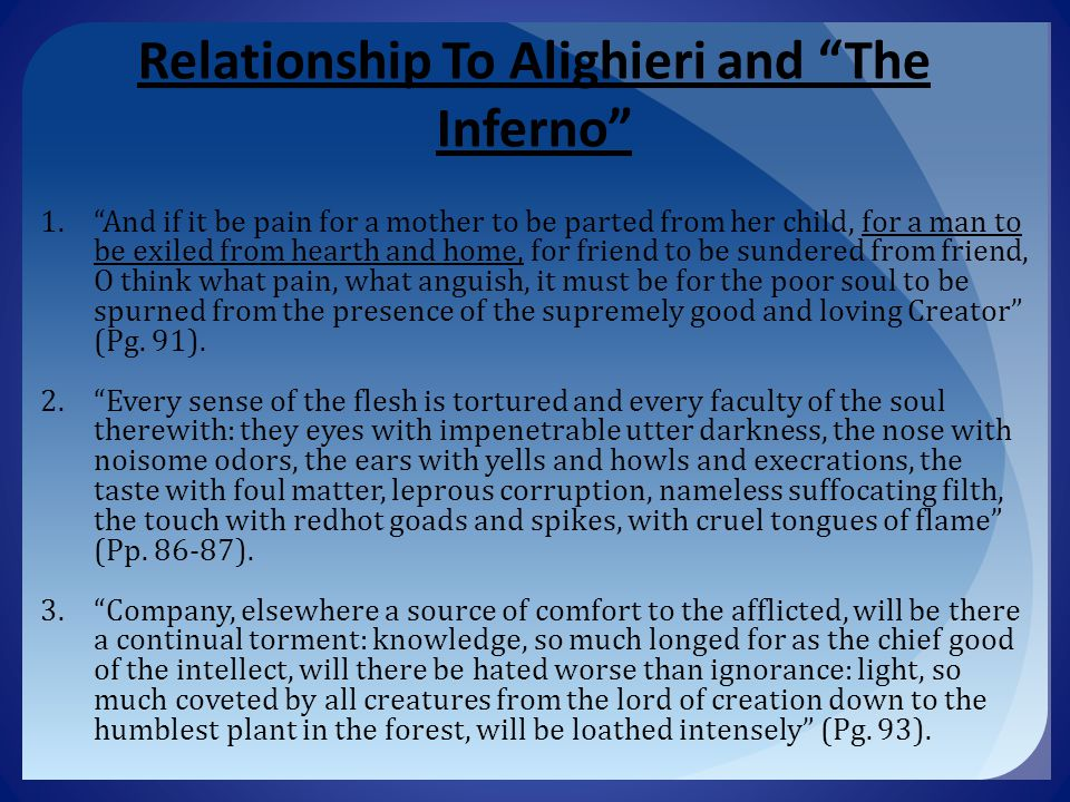 Relationship To Alighieri and The Inferno