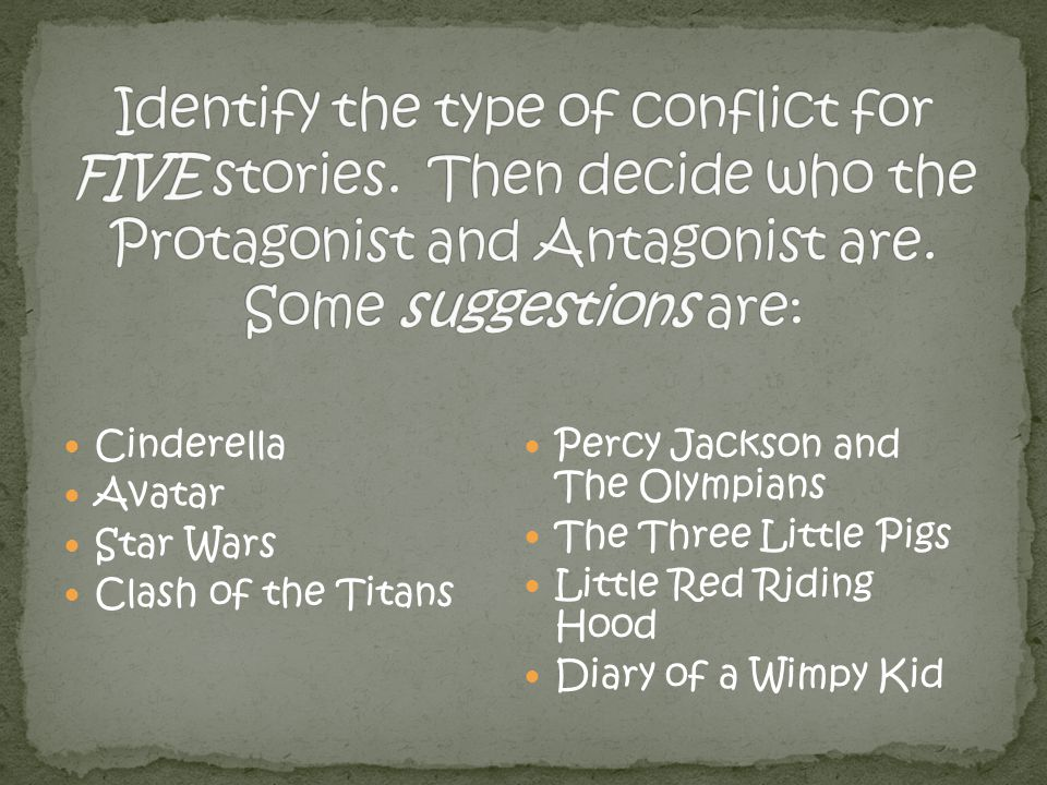 Identify the type of conflict for FIVE stories