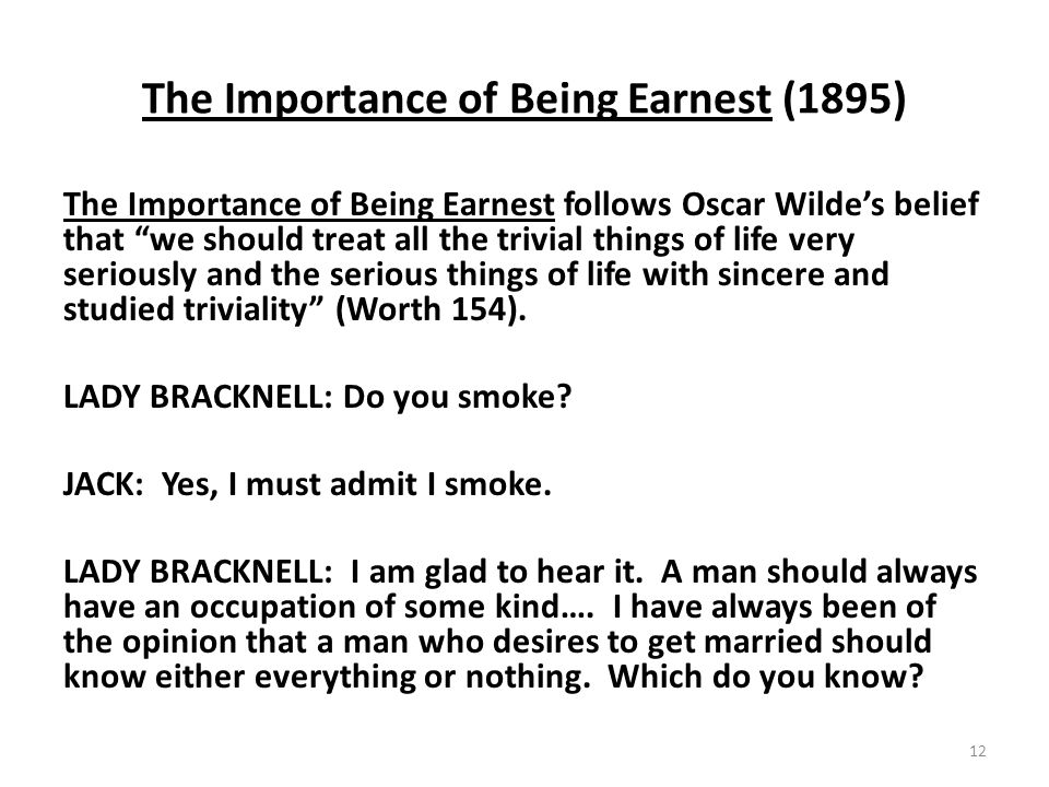 The Importance of Being Earnest (1895)