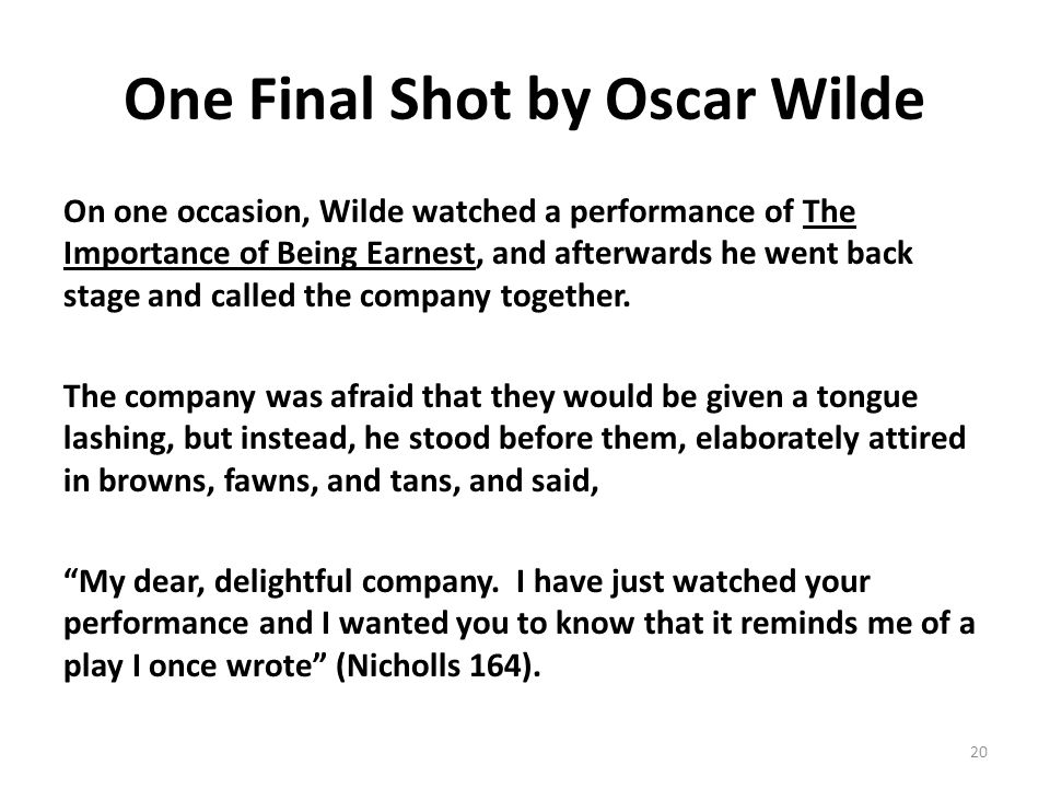 One Final Shot by Oscar Wilde