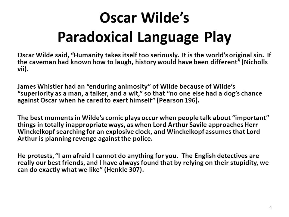 Oscar Wilde's Paradoxical Language Play