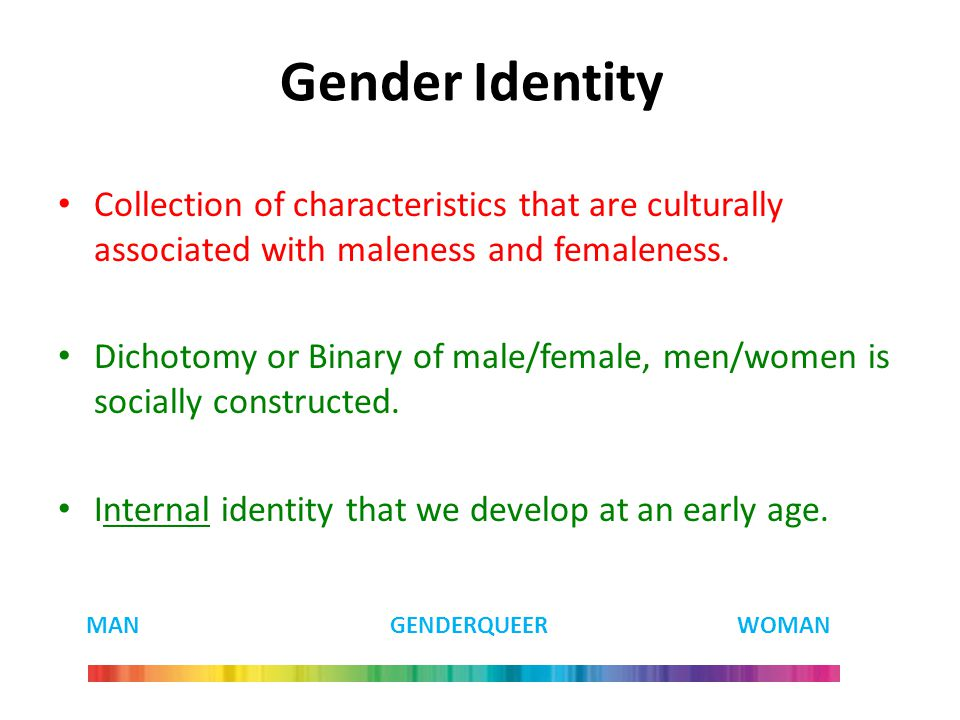 Gender Identity Collection of characteristics that are culturally associated with maleness and femaleness.