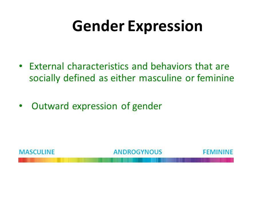 Gender Expression External characteristics and behaviors that are socially defined as either masculine or feminine.
