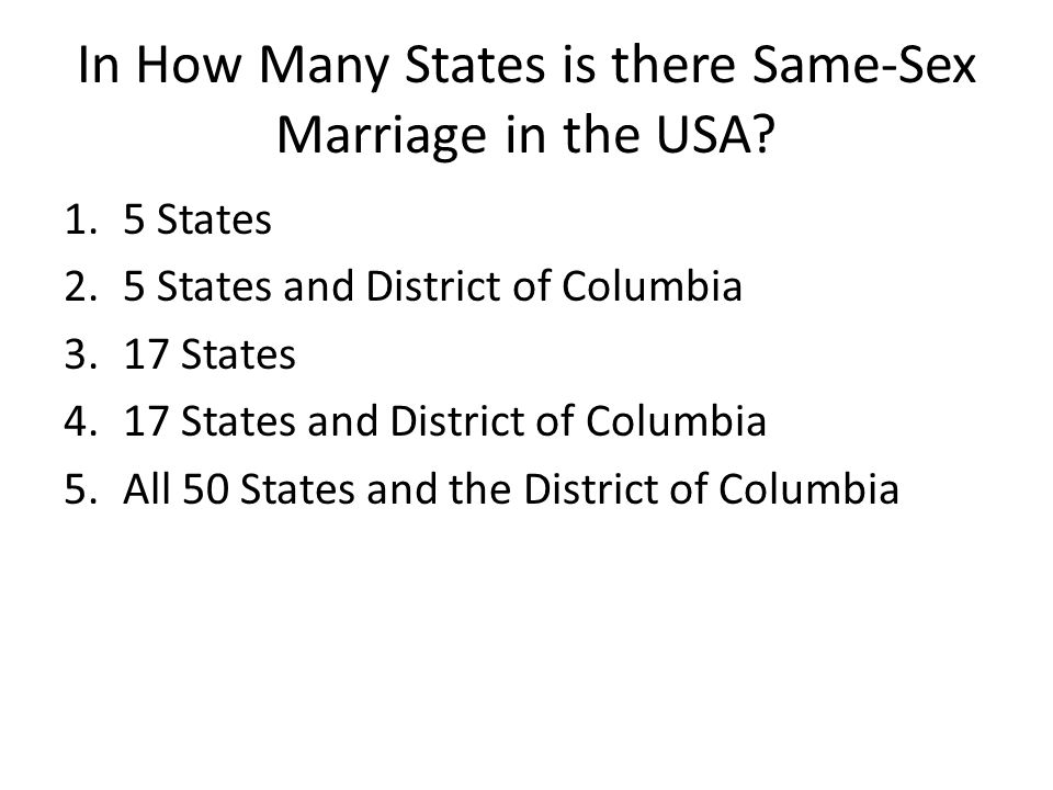 In How Many States is there Same-Sex Marriage in the USA
