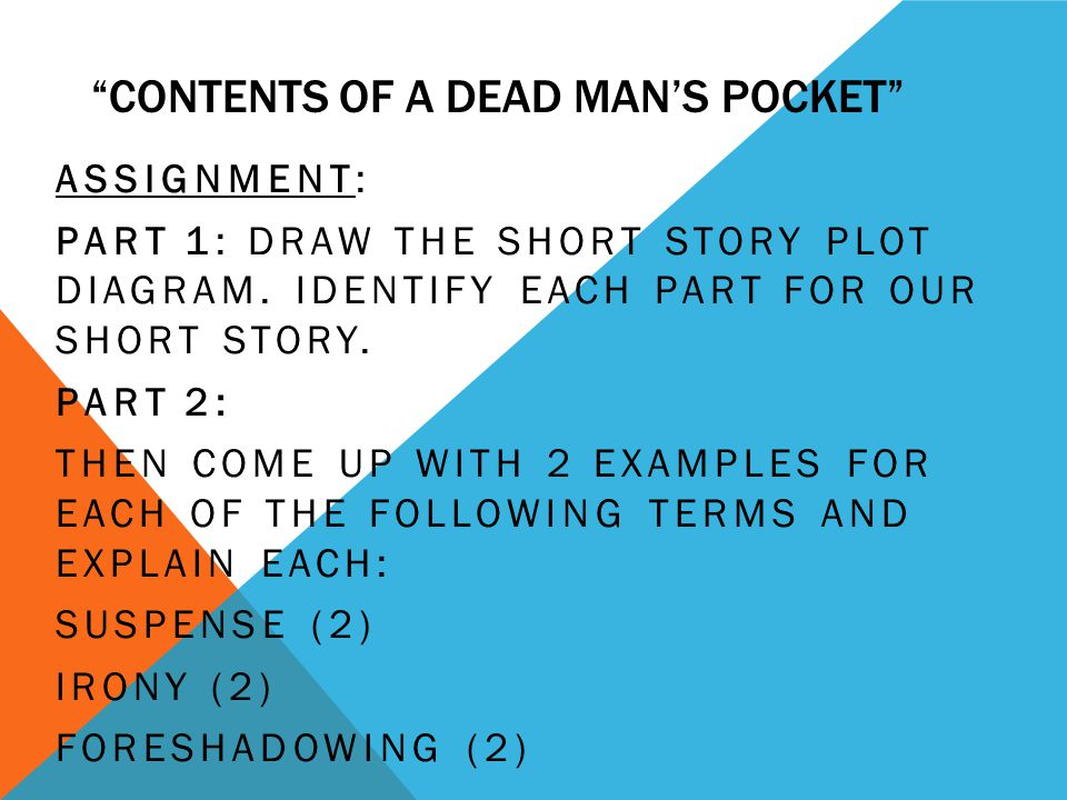 contents of the dead man s pocket Contents of the dead man's pocket lesson plan includes theme, summary, &  character evolution to get your students actively interested in jack finney's  thrilling.