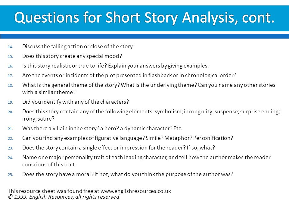 eng introduction to literature ppt  questions for short story analysis cont