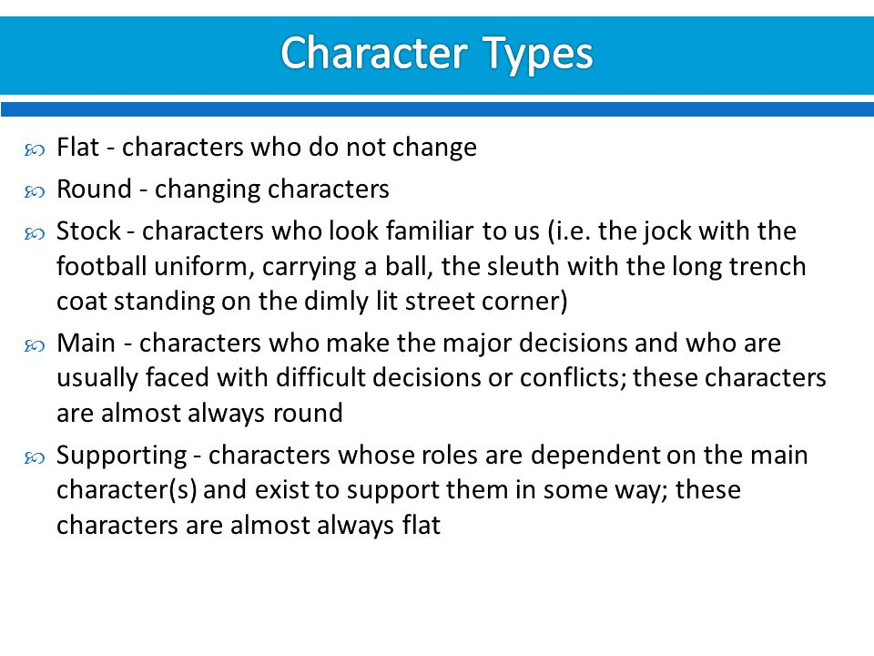 Character Types Flat - characters who do not change