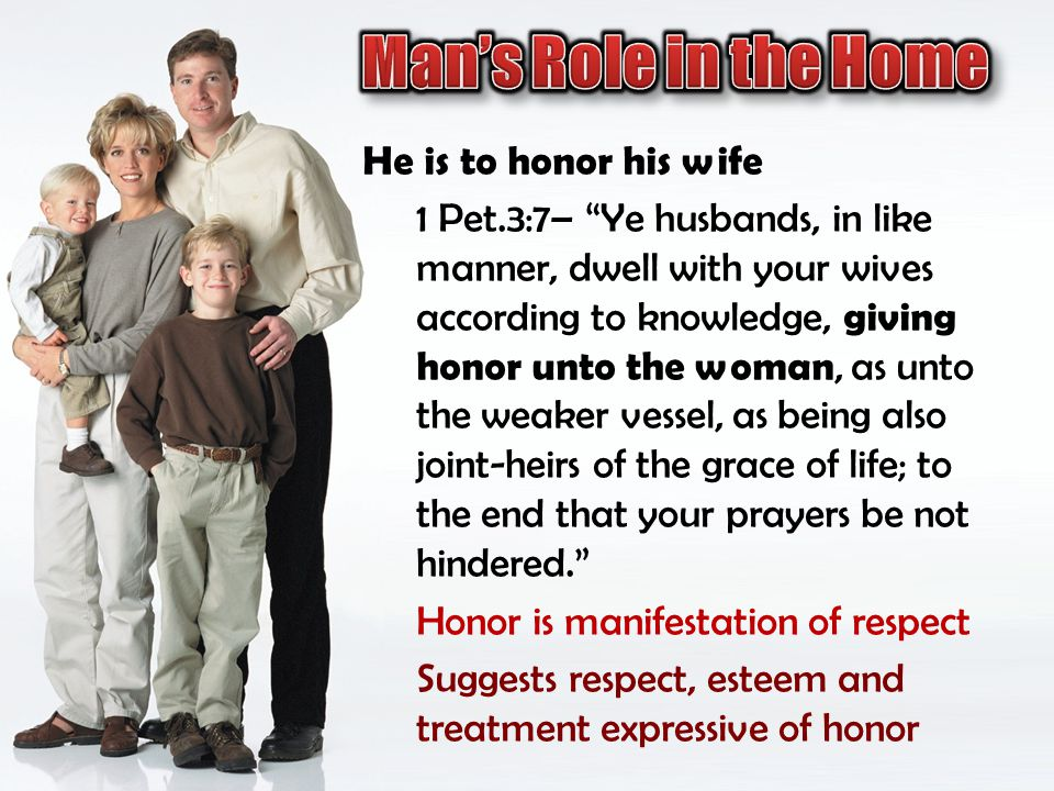Man's Role in the Home He is to honor his wife