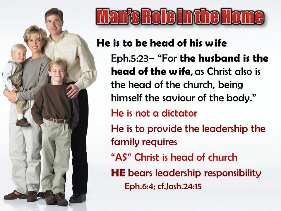 Man's Role in the Home He is to be head of his wife