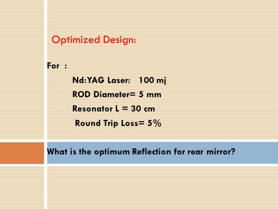 Optimized Design: For : Nd:YAG Laser: 100 mj ROD Diameter= 5 mm