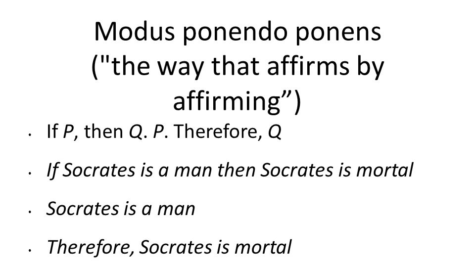Modus ponendo ponens ( the way that affirms by affirming )