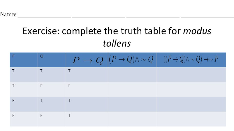 Exercise: complete the truth table for modus tollens